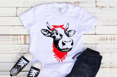 Cow Head whit Bandana and Scarf SVG Farm life Heifer 1296s