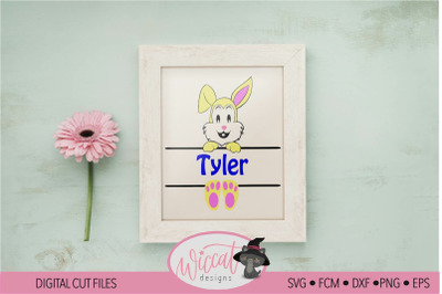 Easter name banner with easter bunny for boy and girl