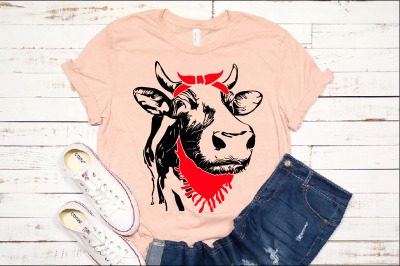 Cow Whit Bandana and Scarf SVG Not today Heifer cattle Beef 1297S
