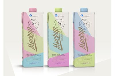 1l Milk Carton 5 Mock-Ups files