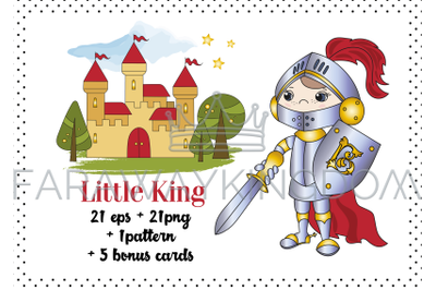 LITTLE KING Cartoon Fairy Tale Vector Illustration Set