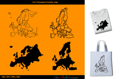 European Country map silhouette vector / outline plus silhouettes