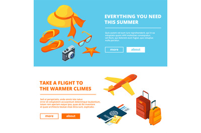 Banners of summer time. Isometric illustrations of summer travelling