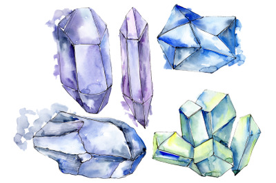 Crystals blue Watercolor png