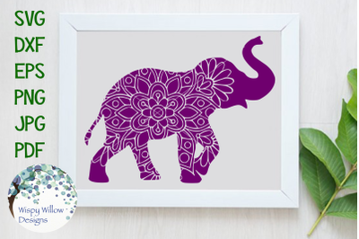 Elephant Mandala Zentangle SVG