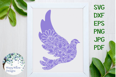 Dove Bird Mandala Zentangle SVG
