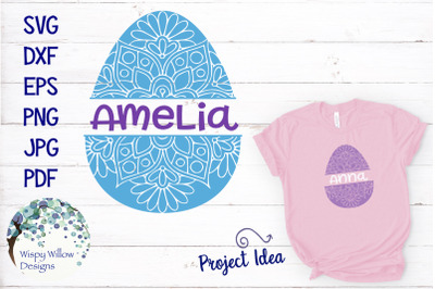 Personalized Easter Egg Mandala Zentangle SVG