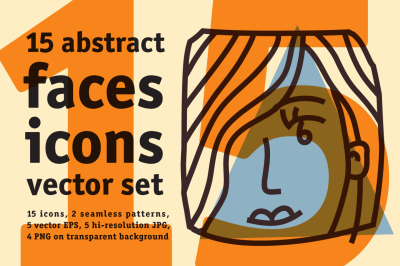 15 abstract faces icons vector set