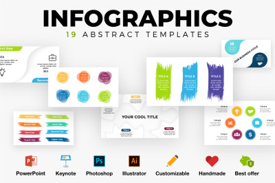 19 Abstract Infographics. Customizable templates in PSD AI EPS PPT KEY