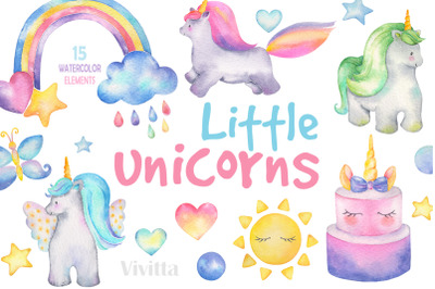 Little Unicorns Watercolor set