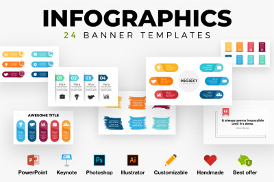 24 Infographics. Banner templates. PSD AI EPS PPT KEY