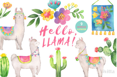 Hello, Llama watercolor clipart set