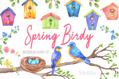 Watercolor Spring Birdy clipart set