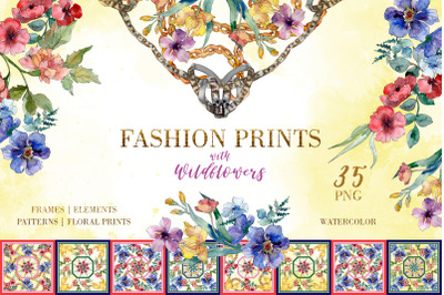 Fashion prints with Wildflowers Watercolor png