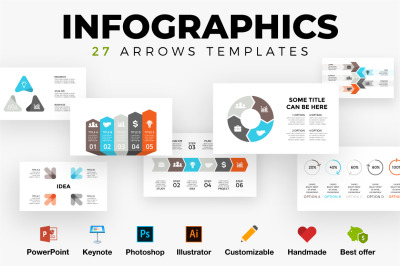 27 Arrows Infographic templates. PSD AI EPS PPT KEY