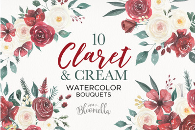 Claret and Cream Flowers Watercolor Wedding Marsala Burgundy Florals