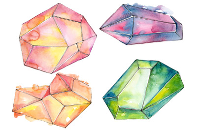 Crystals orange and green Watercolor png