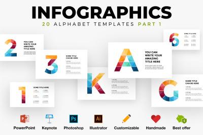 20 Infographics. Letter slides templates. PSD AI EPS PPT KEY