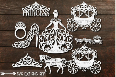 Wedding Princess Bride Bundle cut out svg dxf templates laser cut