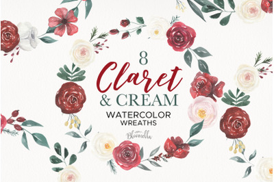 Claret Creams Wreaths Watercolor Red Flowers Florals Painted Wedding