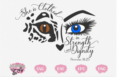 She is Clothed in Strength and Dignity - A Proverbs SVG