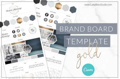 Modern Gold Brand Board Template Canva