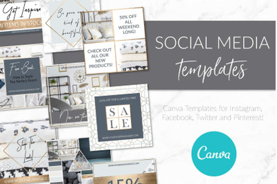 Modern Gold Social Media Template Canva