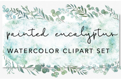 Painted Eucalyptus Watercolor Greenery Graphic Clipart Set