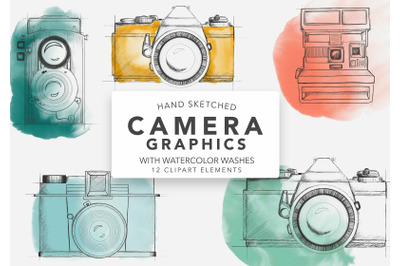 Vintage Sketched Watercolor Camera Photography Graphics