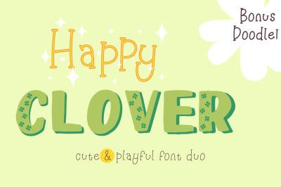 Happy Clover Font Duo + Doodles