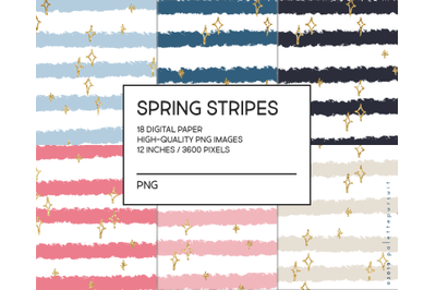Spring Stripes Digital Paper, Gold Glitter Digital Scrapbooking Paper