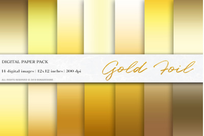 Gold Foil Digital Papers, Gold Gradient Background