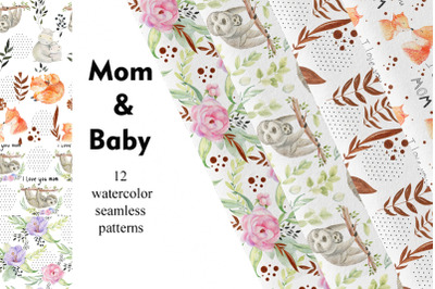 Mom and Baby. Watercolor seamless patterns.