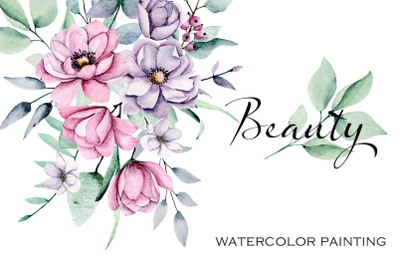 Flowers watercolor set Beauty, pink and violet peonies.