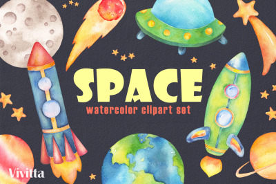 Space watercolor clipart collection, Galaxy, Planets