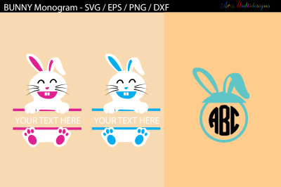 Easter bunny monogram SVG cut files