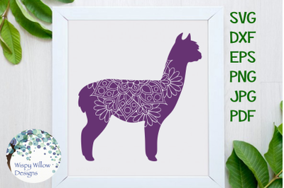 Alpaca Mandala Animal Zentangle SVG