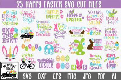 Easter SVG Bundle with 25 SVG Cut Files-DXF-EPS-PNG-JPG
