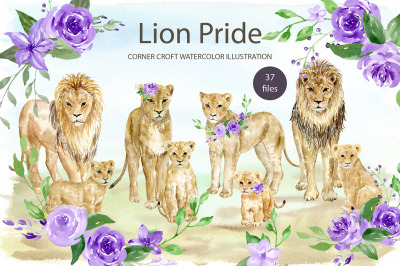 Waterolor Lion Family Clipart