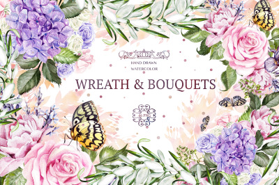 Watercolor Wreath & Bouquet