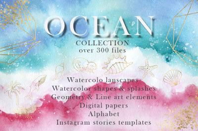 Ocean watercolor collection