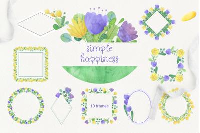 Simple happines. Set of 10 watercolor flower frames