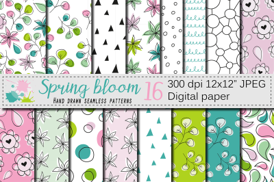 Spring floral hand drawn seamless digital paper, pink green patterns