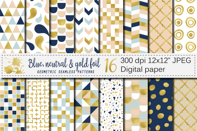 Blue, neutral and gold foil seamless geometric patterns, digital paper