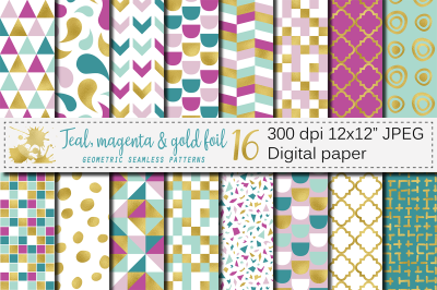 Teal, magenta and gold foil seamless geometric patterns, digital paper