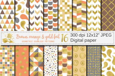 Brown, orange and gold foil seamless geometric patterns, digital paper