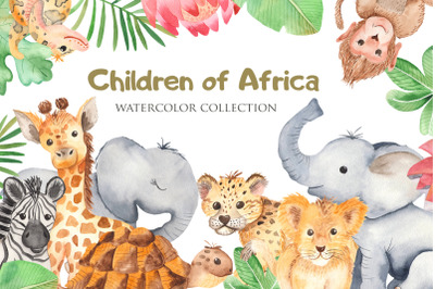 Cute African animals. Watercolor clipart