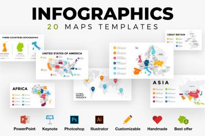 20 Infographics. World map template. Europe, USA, Canada, Australia...