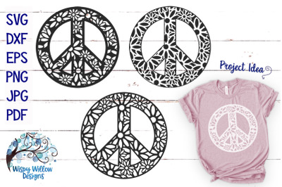 Peace Sign Zentangle Mandala SVG Bundle