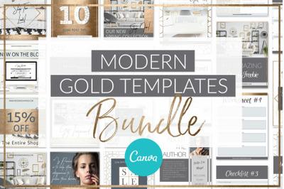 Modern Gold Template Bundle Canva